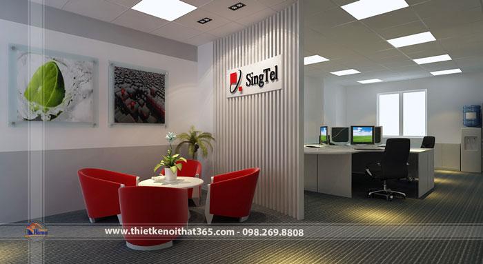 Thiết kế nội thất văn phòng Singtel.