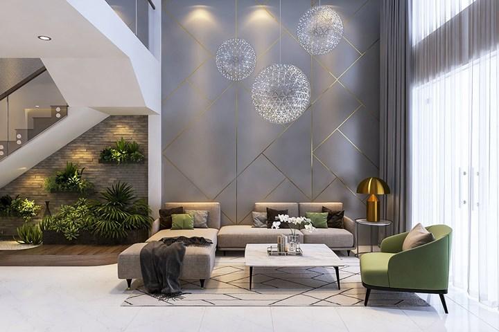 Mẫu thiết kế nội thất phòng khách trang trí giản dị với tông màu xám